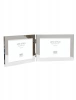 wanddecoratie-metaal-tweeluik-in-glanzende-zilverkleur-voor-2-horizontale-fotos