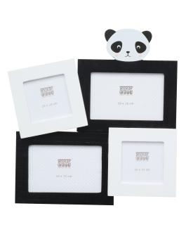 wanddecoratie-hout-multifotolijst-met-panda-voor-4-fotos