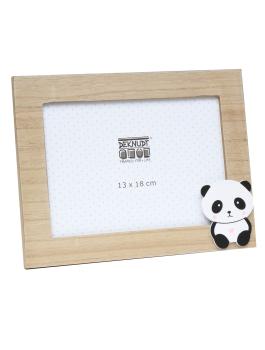 wanddecoratie-hout-fotokader-in-naturelle-houtkleur-met-panda