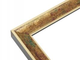 wanddecoratie-hout-goudkleurige-houten-fotokader-in-combinatie-met-groen-en-donkerrood