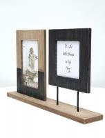 wanddecoratie-hout-fotohouder-met-2-lijsten-in-zwart-en-bruine-hout