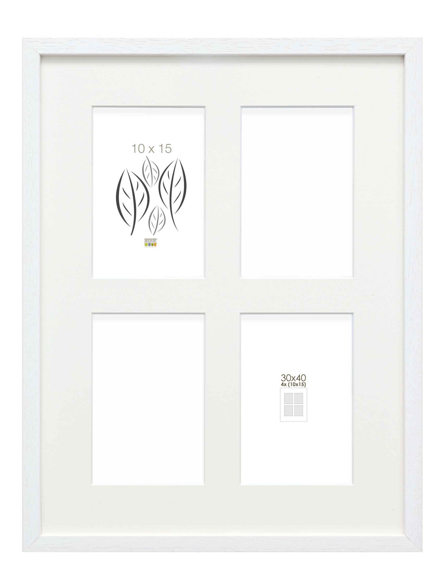 Basic, wit hoog profiel voor 4 foto's 10x15cm, hout (30x40cm) S223K1 P4