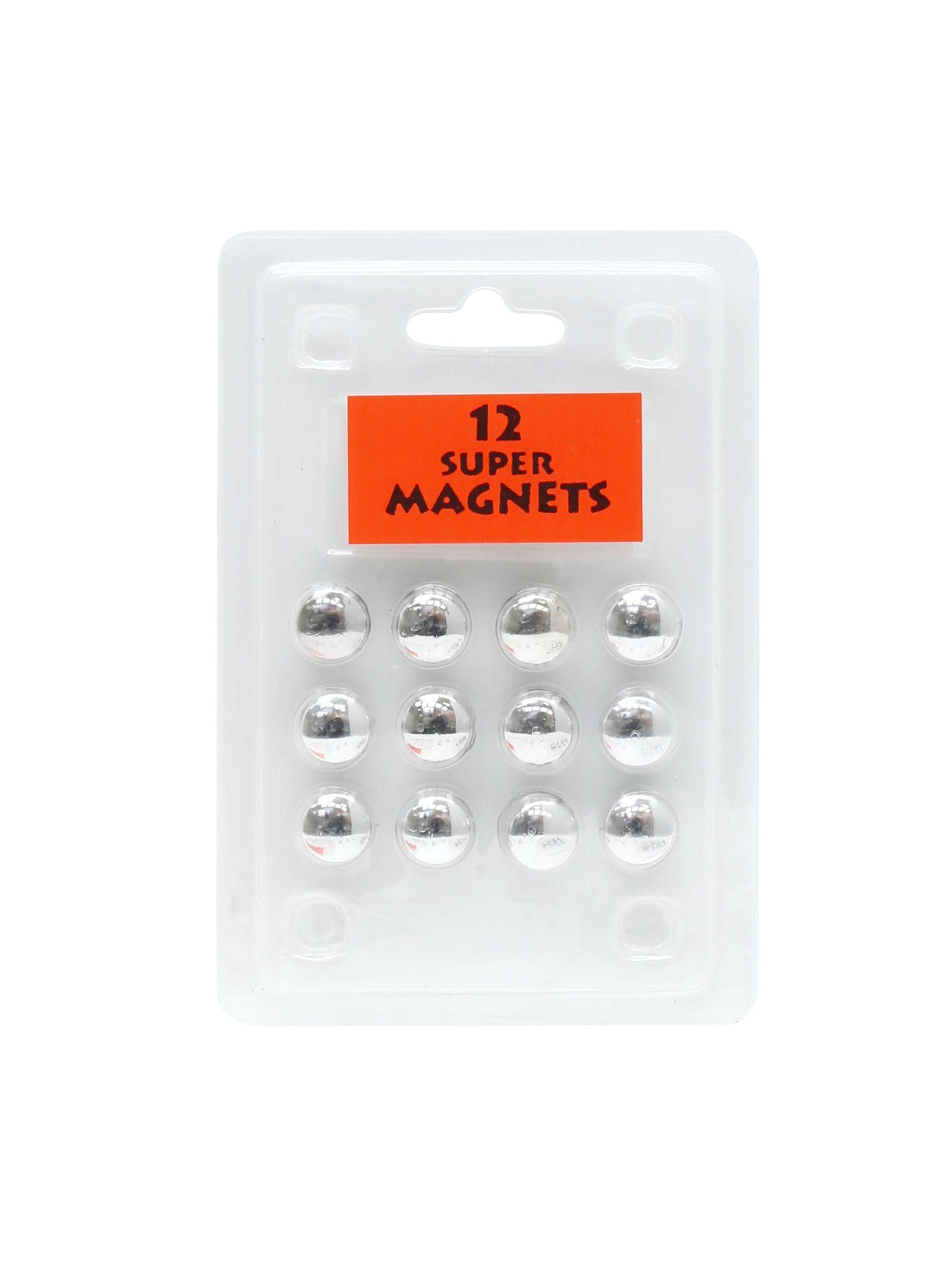 12 magneten zilver,blister S328B3