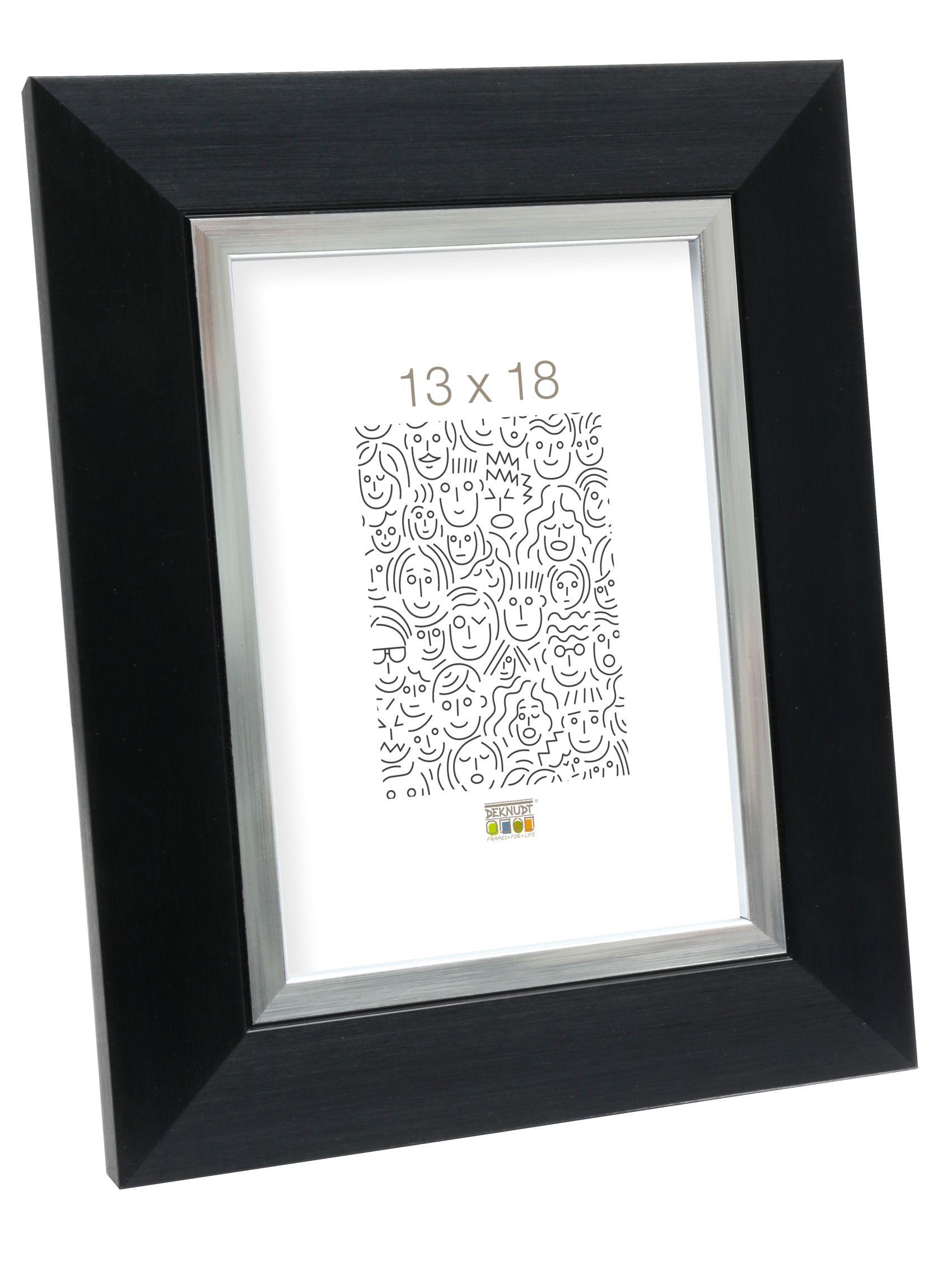 fotolijst zwart met zilverbies, kunststof S41NH2