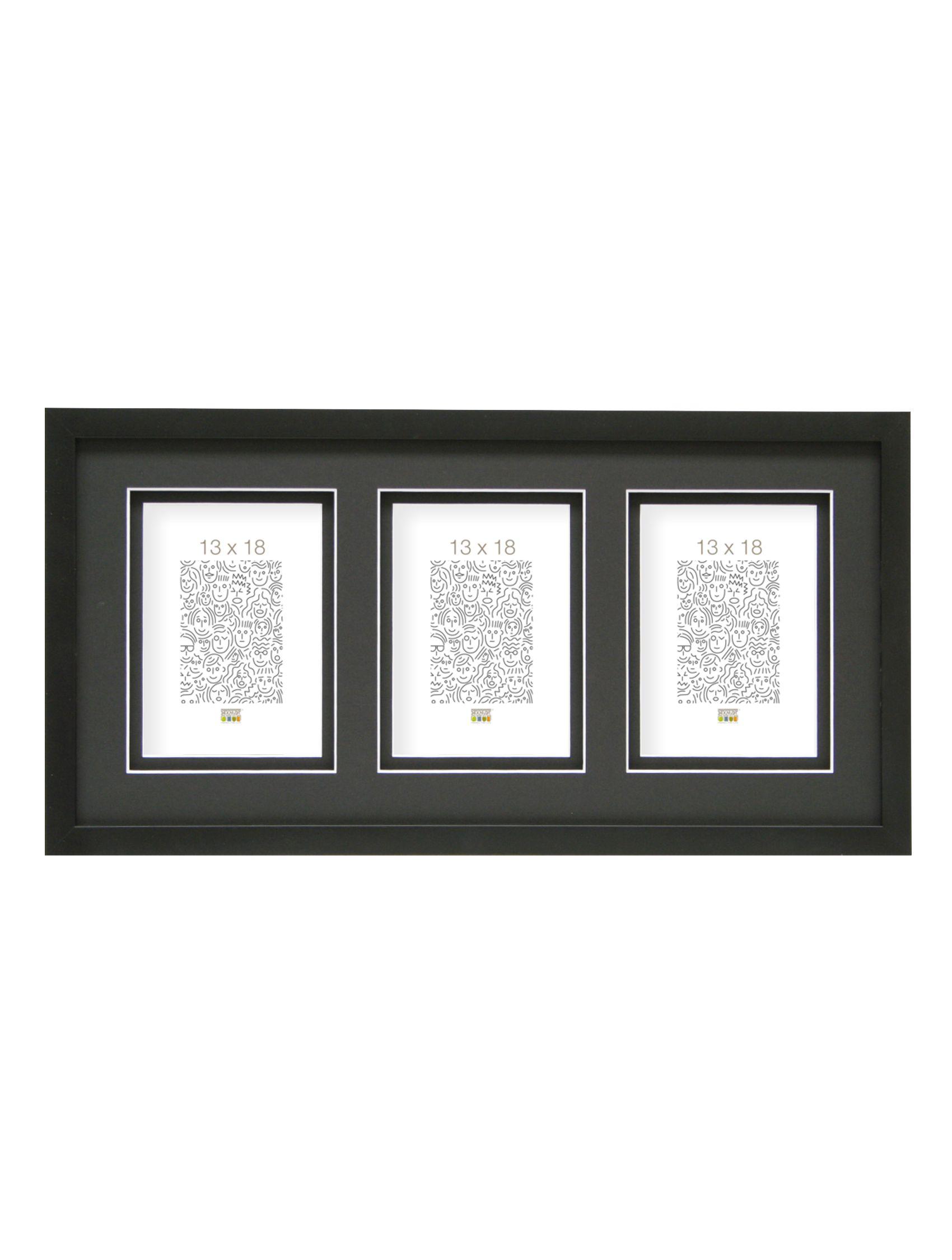 Fotokader, zwart met dubbele passe-partout met extratussenruimte, voor 3 foto's S43DK2 P3