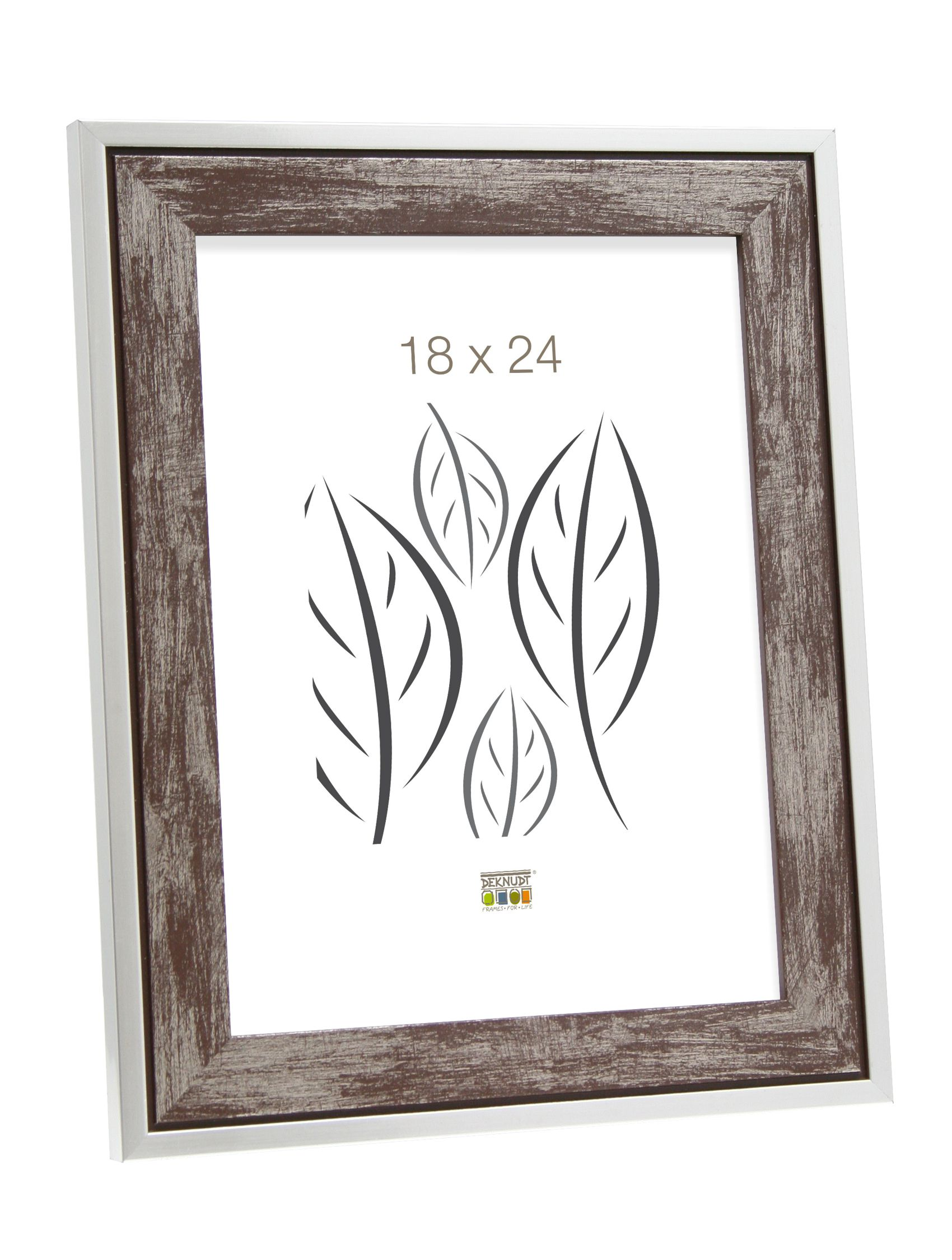 Fotokader hout, bruin met zilverrand S43RE3