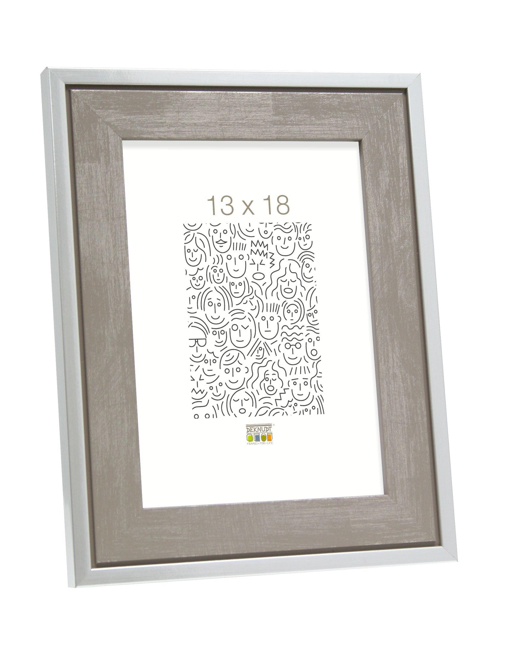 Fotokader hout, grijs met zilverrand S43RE7