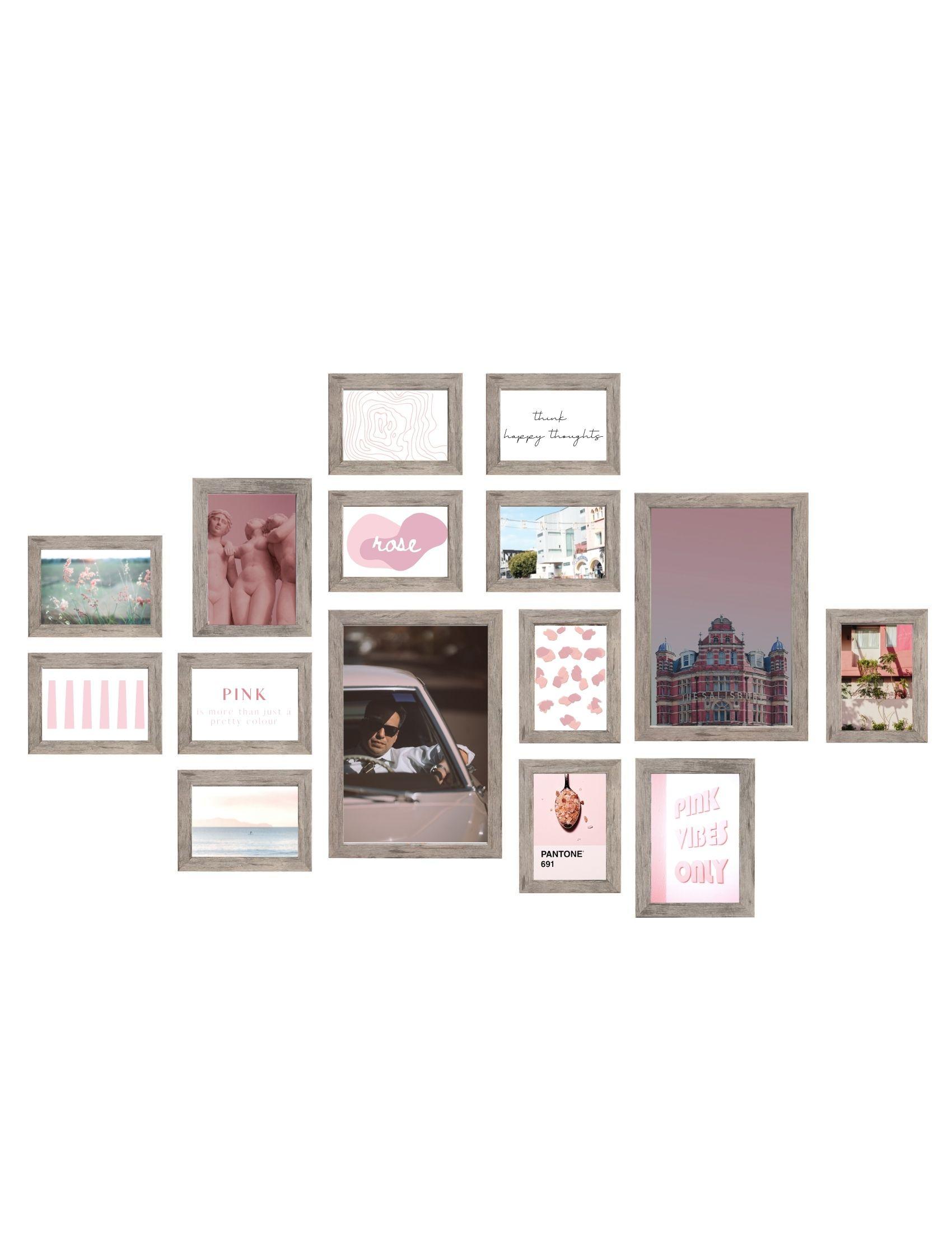 Wall 1 - fotowand 15 grijsbeige houtkleur fotokaders S45RH7 WALL1