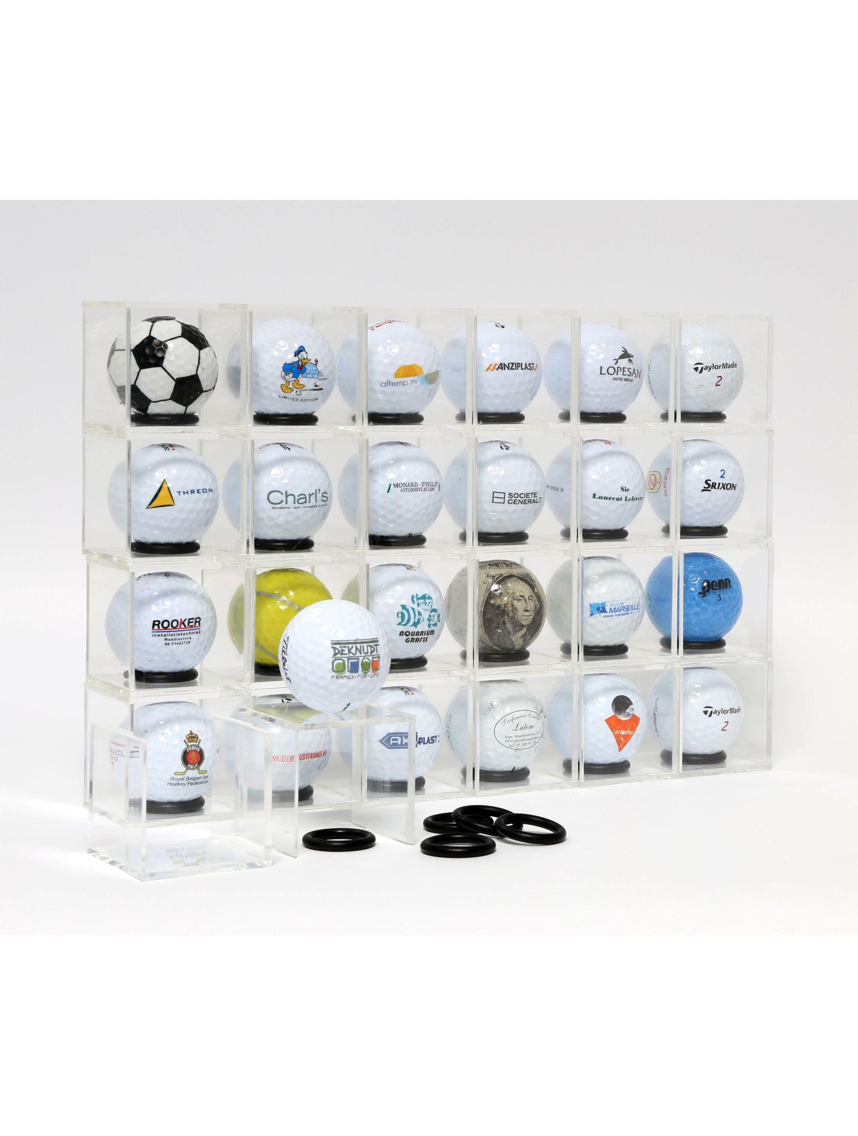 pakket plexidoosjes 5x5 met ringen voor presentatie golfballen - 24st S58RE2 GOLF