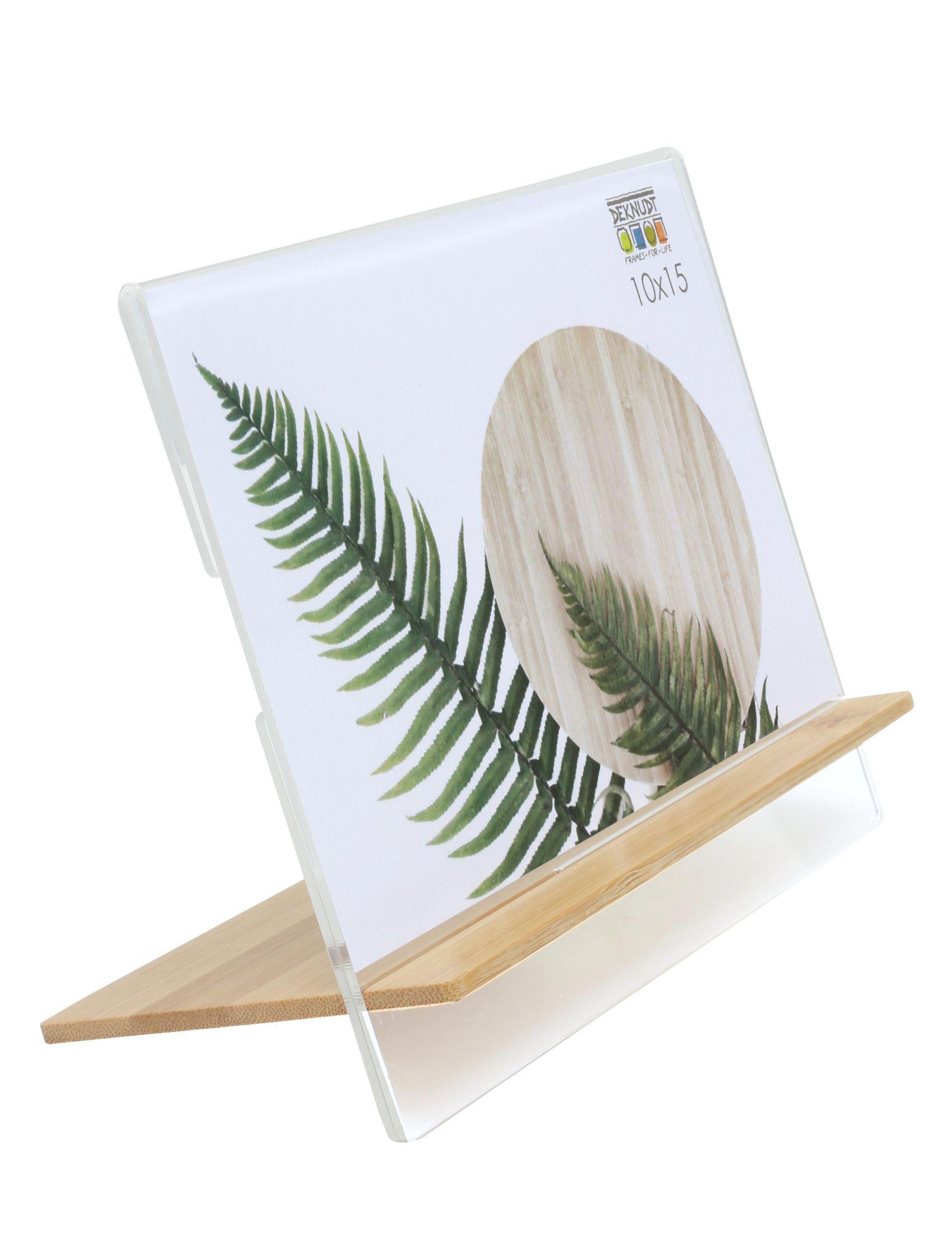 Transparante fotokader in plexi met staander in naturel hout S58RX1