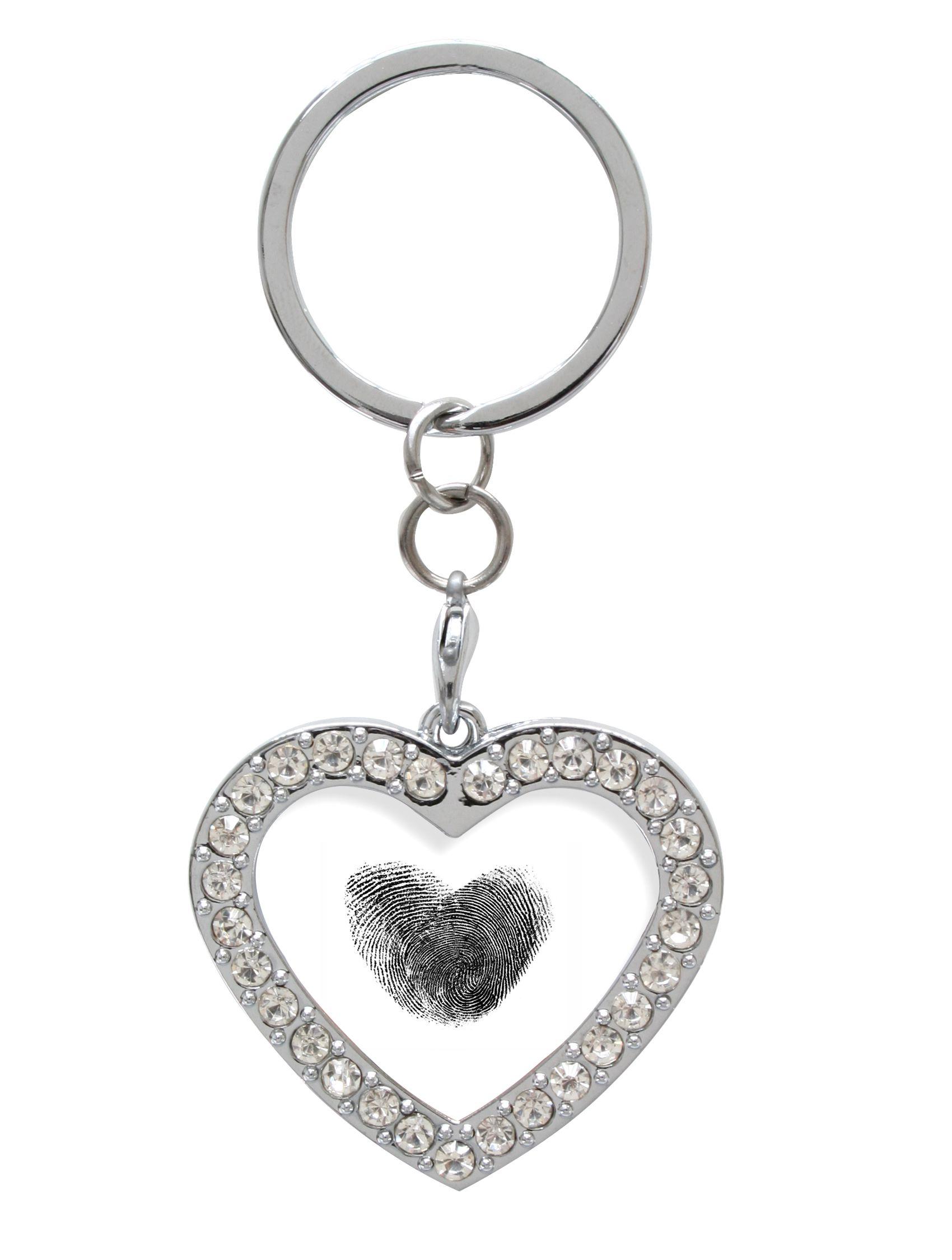 sleutelhanger hartvormig, met edelsteentjes S59NB5