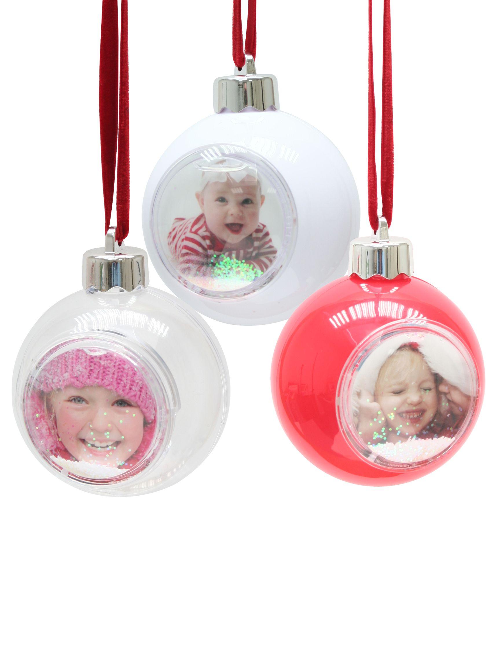 kerst, kerstbal met sneeuw en glitter, foto 5x5cm, rood, wit en transparant S66FC1