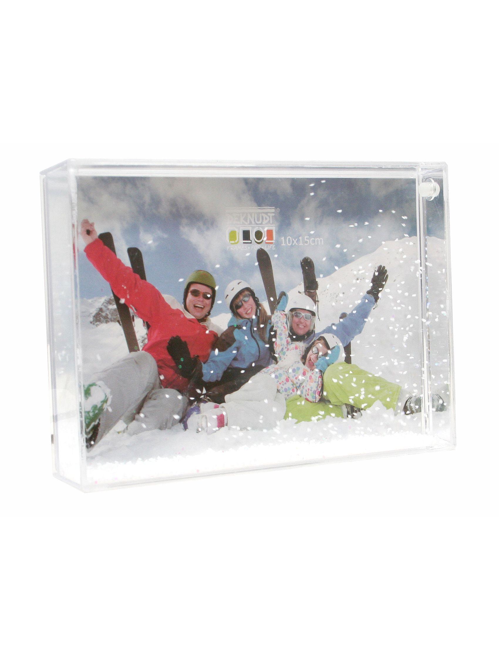 fotokader met sneeuw en glitter voor kerst, foto 10x15cm S66FD1