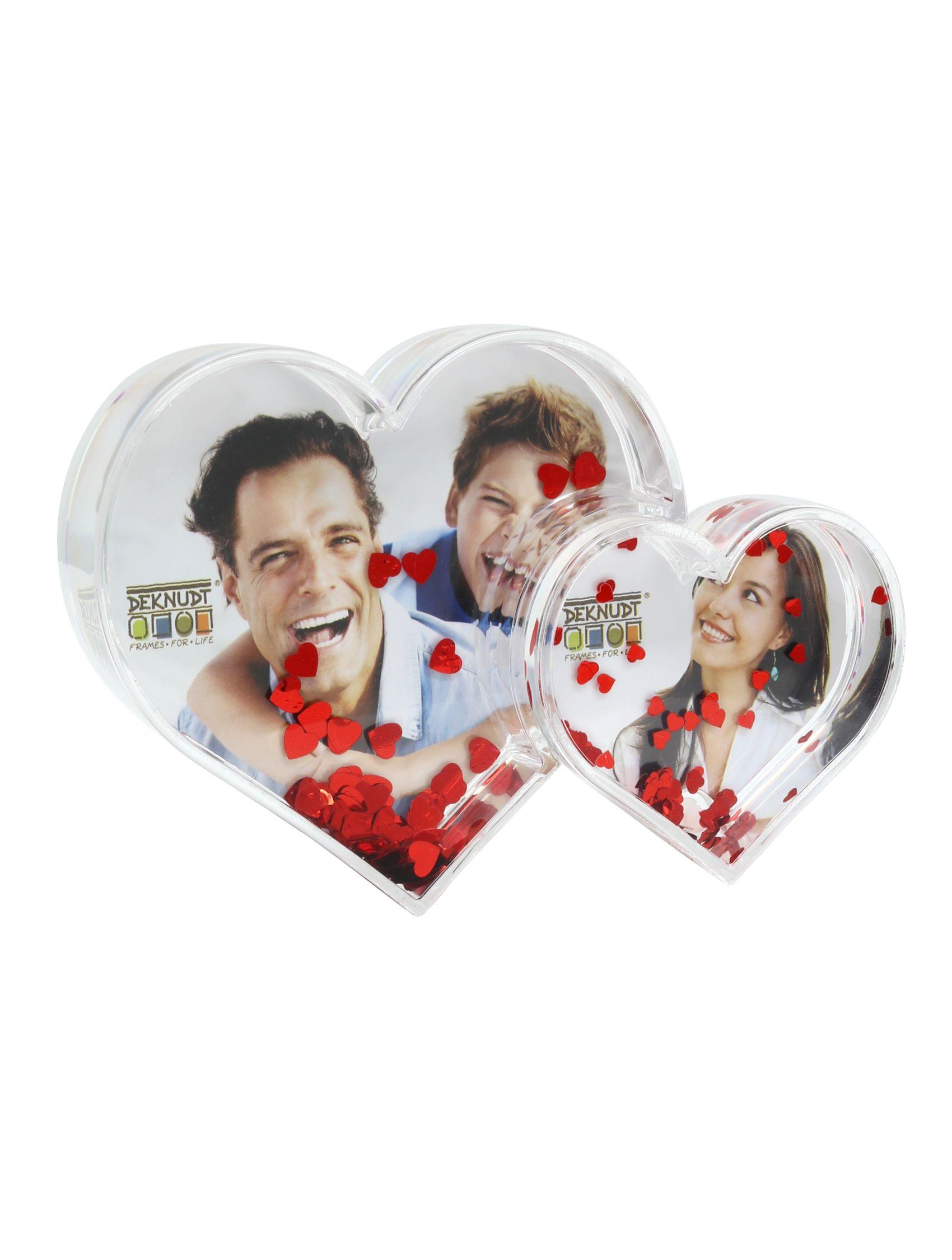dubbel fotohartje in pleximet rode hartjesglitter   (13,5 x 9 x 2,5cm) S66FE2