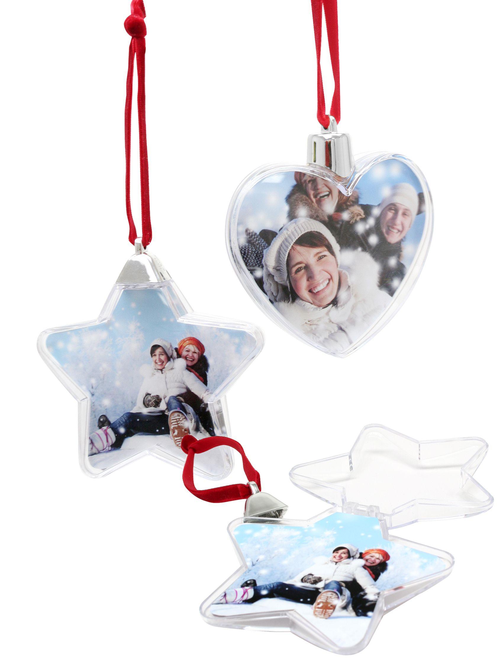 kerst, kerstbal in hart en stervorm, 8.5 diam, transparant S66FF1