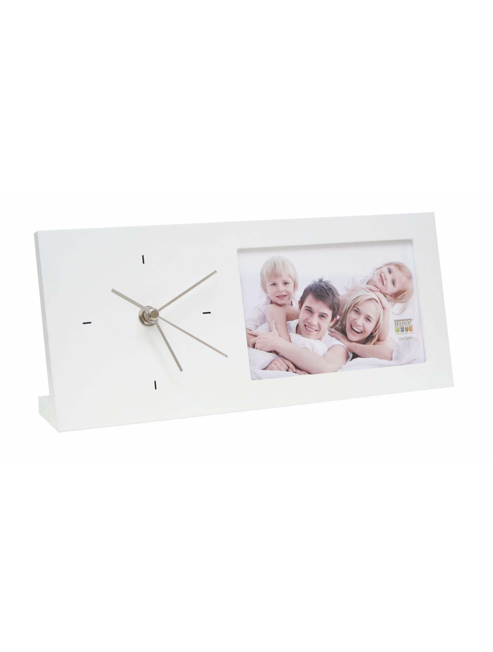 Fotokader wit met klok (13x30cm) - staand model S66RT1