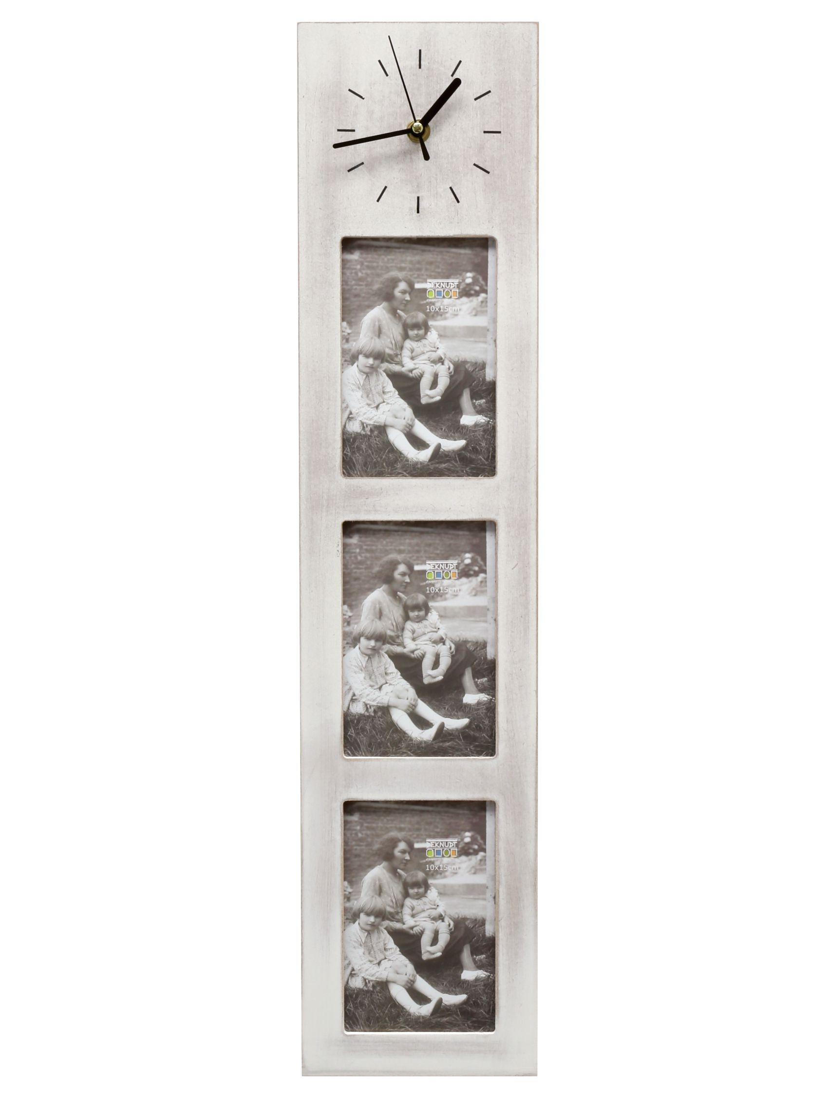 multifotolijst met klok   wit hout S67TK1 E3