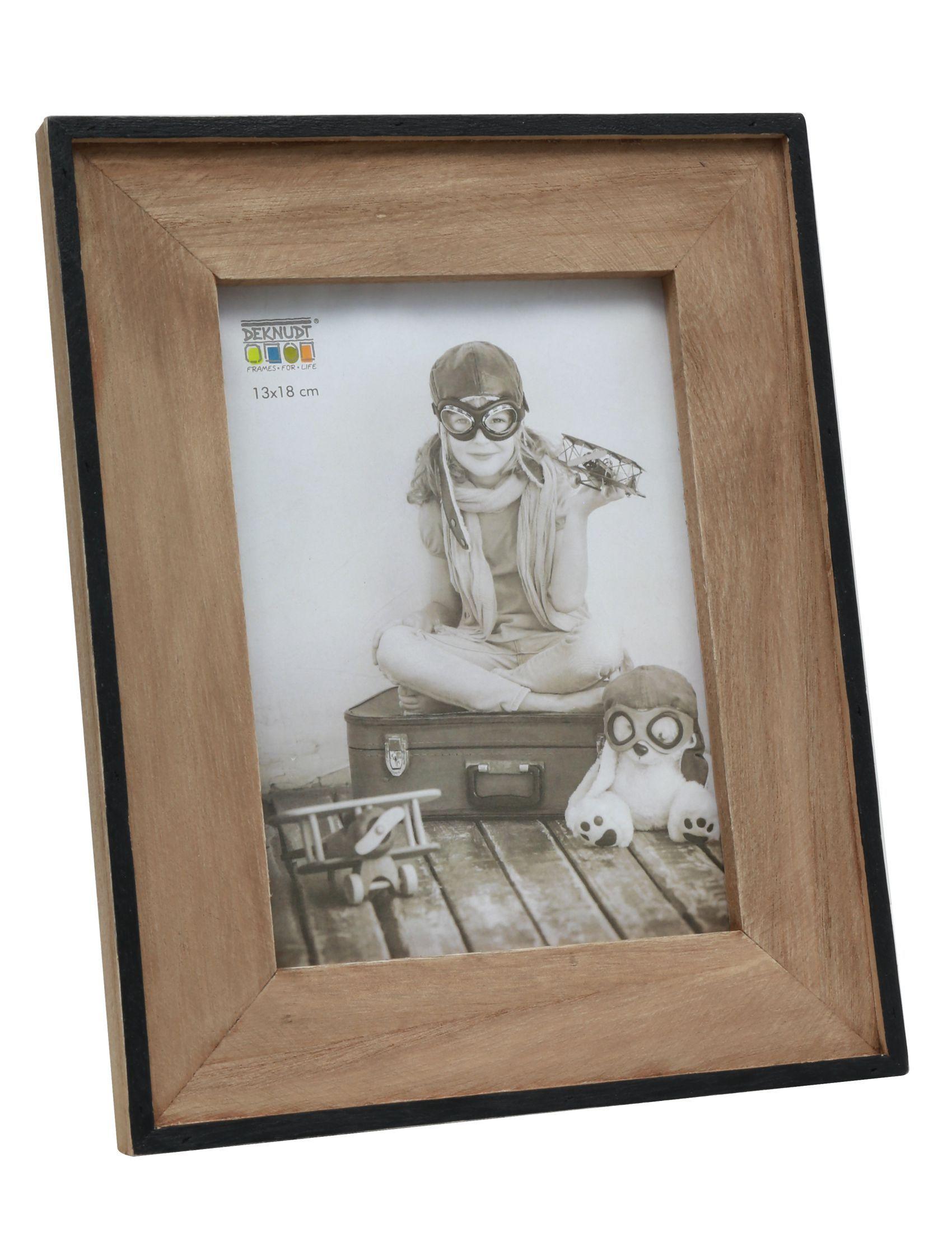 Smalle fotolijst in zwart met houten passe-partout S67TX2