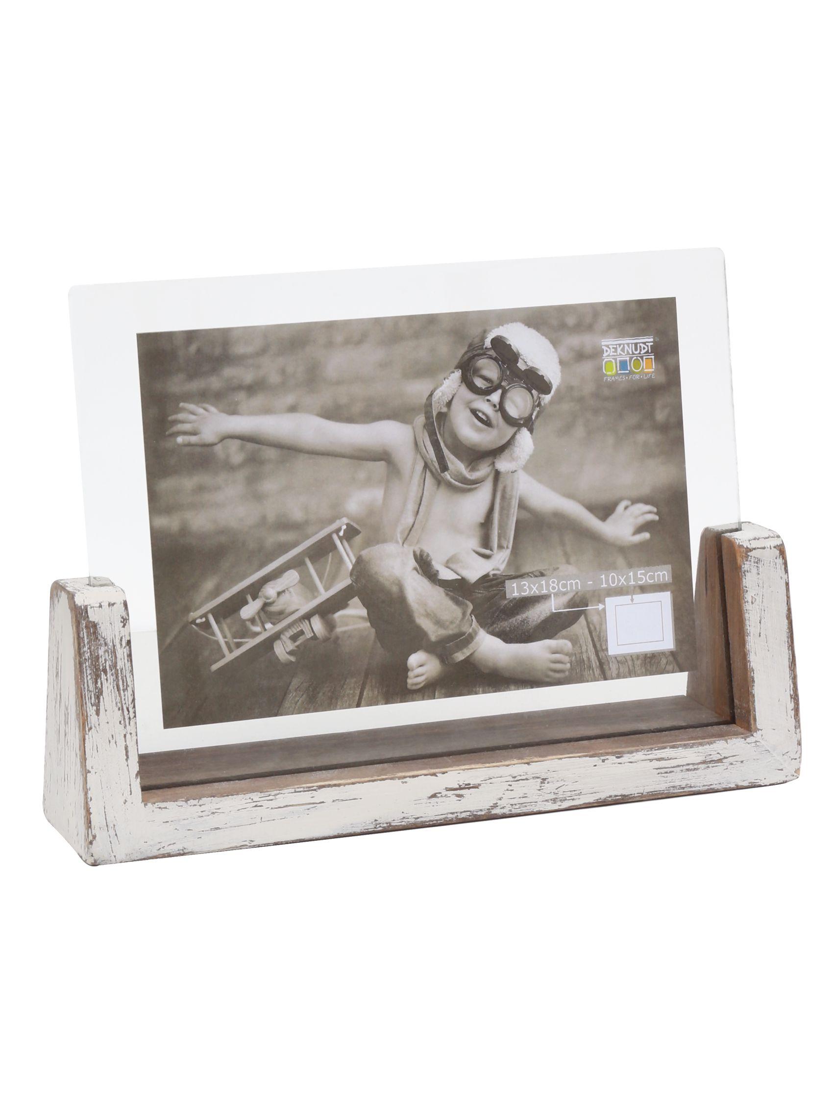 Wit geschilderde fotohouder voor 1 horizontale foto S67TZ1 H
