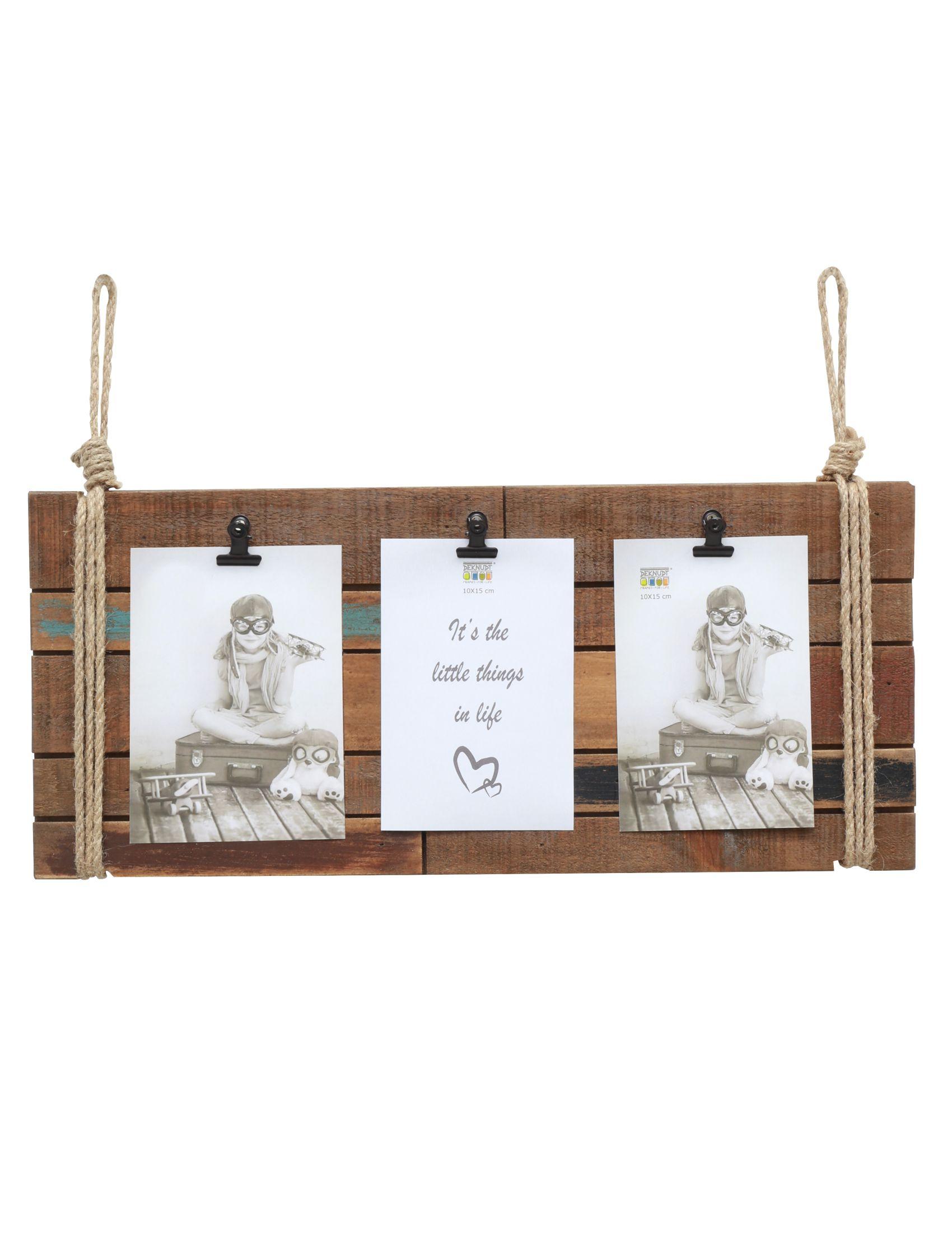 Fotolijst in bruin hout met 3 clips S67UB2 P3