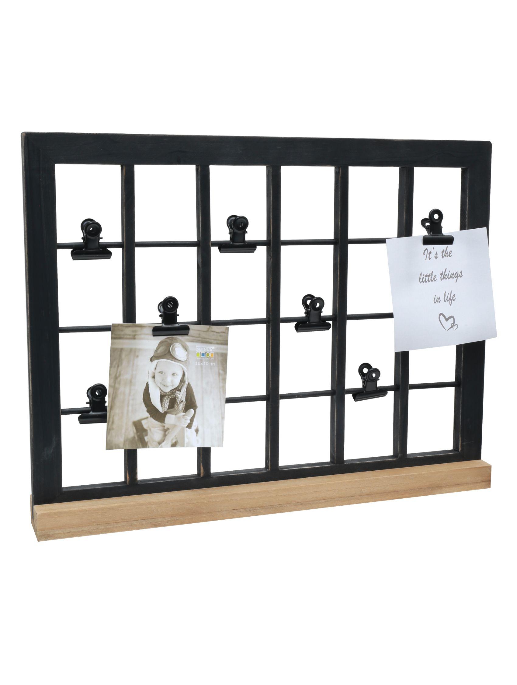 Multi fotokader in zwart met clips en met houten staander S67UB3 E