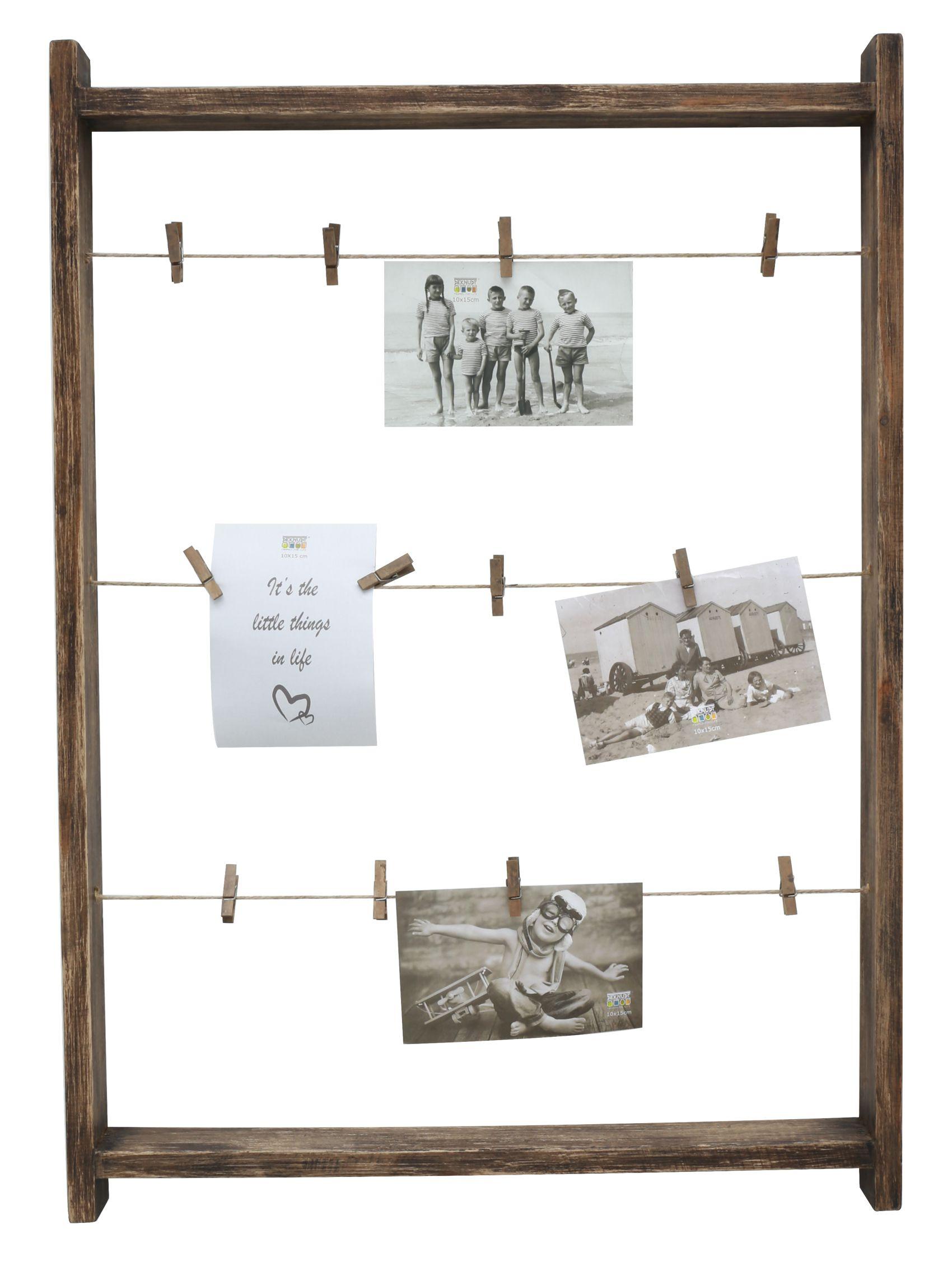 Fotoladder in bruin hout met wasknijpers S67UB4 E
