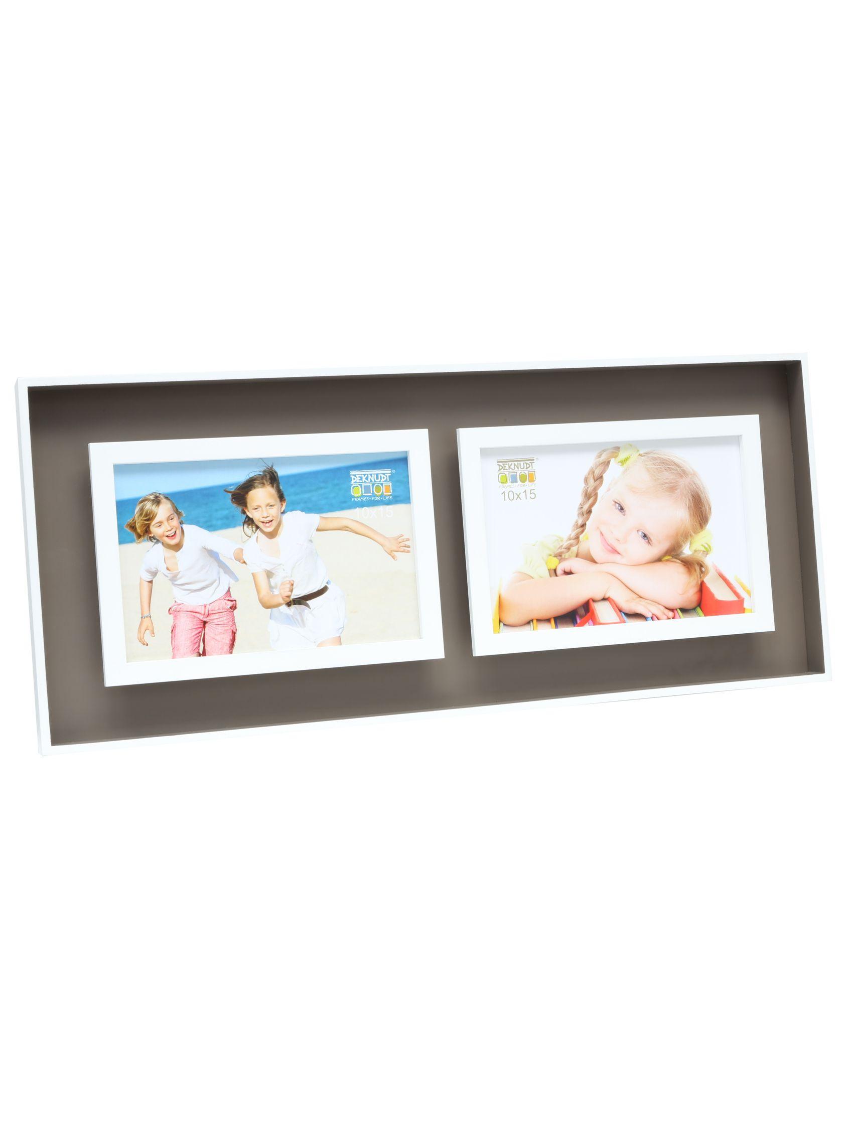 fotokader taupe/wit hout met diepte-effect, voor 2 foto's 10x15 horizontaal S68DK9 P2