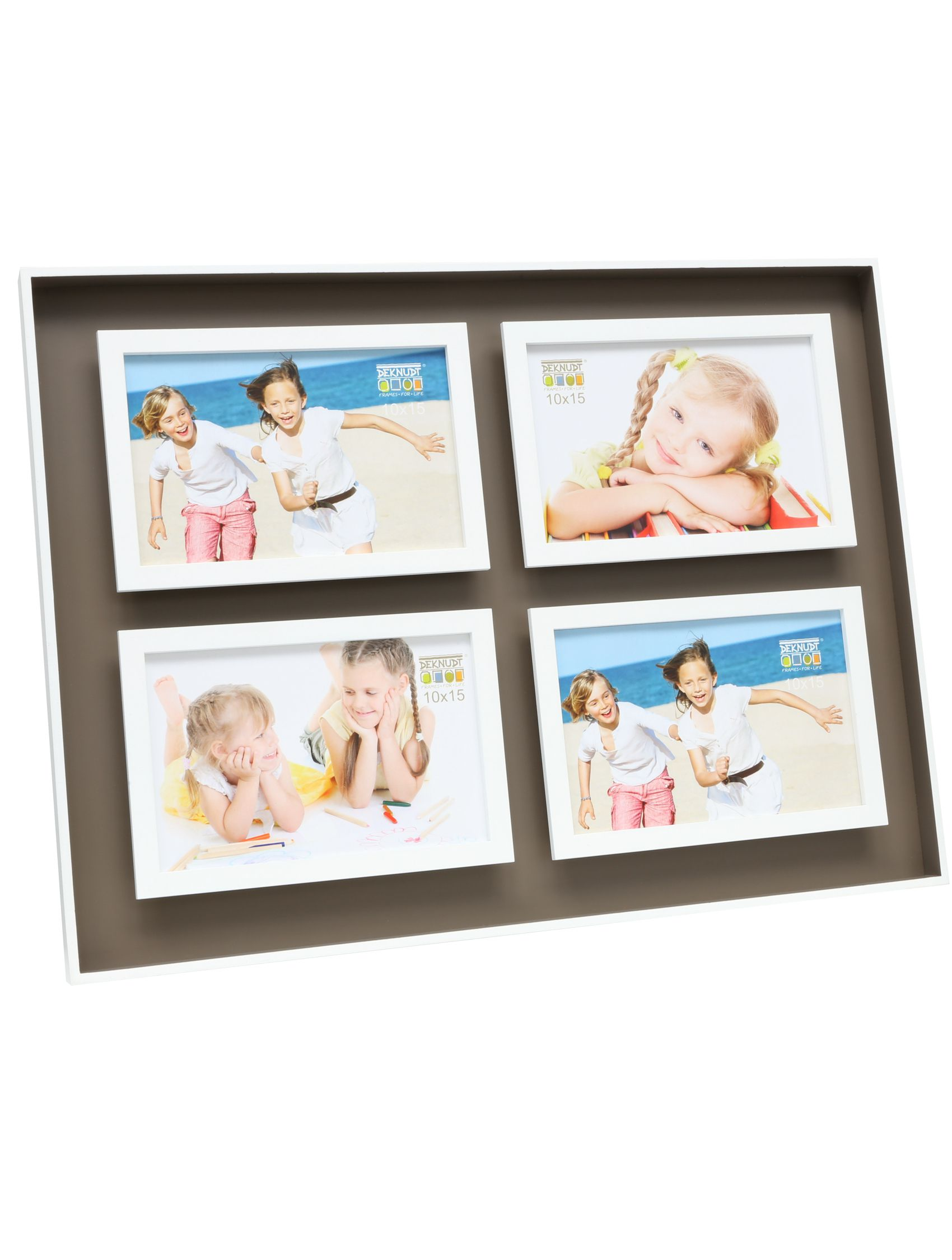 fotokader taupe/wit hout met diepte-effect, voor 4 foto's S68DK9 P4