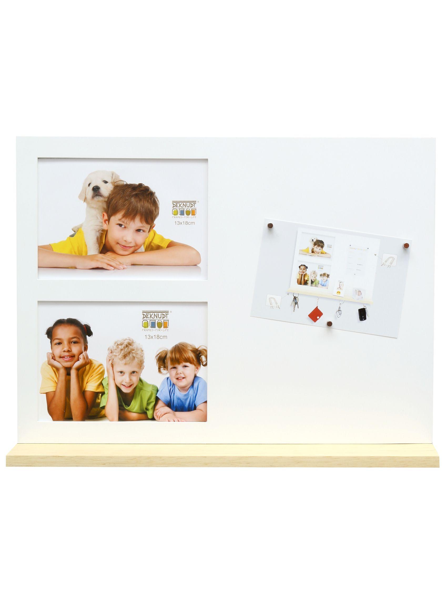 multifotolijst wit hout, met magnetisch memobord en magnetische sleutelboshouder S68EL1 E2A